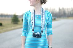 Camera strap DIY: made from a silk scarf!
