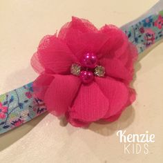 Pink and Blue Floral Handcrafted Headband by Kenzie Kids Boutique