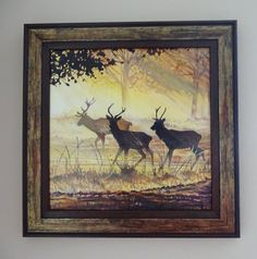 Stag Oil Painting  Dawn's Breath   A trio of stags by Wirelifeart