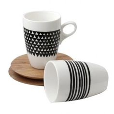 Tribal Mugs & Saucer - Triangle (Set of 2) - Handcrafted Mug and saucer (from sustainable wood). Available at sourced4you.com.au