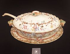 Antique Tureen, Ladle and Platter with Ornate Floral Pattern $35 (Condition Noted in Platter)