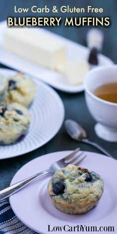 Yummy low carb blueberry muffins to start your day. These gluten free muffins are quick and easy to prepare as a warm breakfast treat.   http://LowCarbYum.com