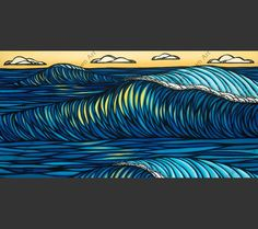 """Sunset at Sunset"" - Hawaii Wave Artwork by surf artist Heather Brown of a North Shore wave at sunset"