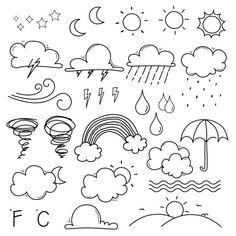 Conjunto de ilustracin de doodle cafe Vector Premium