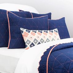 The Diamond Box-Stitch Navy Blue Quilt & Sham Navy Bedrooms, Coral Bedroom, Pink Room, Navy And Coral Bedding, Chic Bedding, Bedding Decor, Bedding Sets, Room Decor, Bed Pillow Arrangement