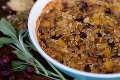Mark Bittman's Autumn Millet Bake - This millet bake recipe is a largely hands-off, winter squash-based casserole that uses golden millet, baked squash, pumpkin seeds and jewel-toned cranberries.