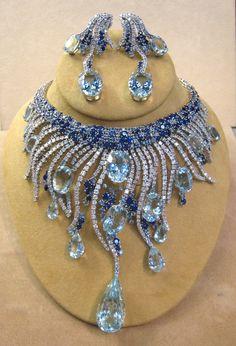 Sapphire and Aquamarine parure.