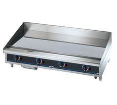 """Star Star-Max Griddle 48"""" - 648TCHSD    Star-Max Griddle, countertop, gas, 48""""L, 27-3/4""""D, 15-1/2""""H, 3/4"""" chrome griddle plate, thermostat controls every 12"""", safety pilot, aluminum steel construction, s/s front with black trim, wrap-around s/s splash guard, grease trough & s/s drawer, 4""""legs, 113,200 BTU"""