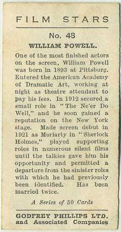 Reverse side of William Powell 1934 Godfrey Phillips Film Stars Tobacco Card #48