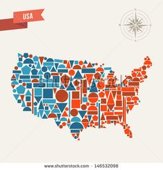 United States country map silhouette made with geometric icons. This illustration is layered for easy manipulation and custom coloring - Shutterstock Premier