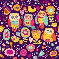 Seamless vector pattern with beautiful cheerful owls and flowers Stock Photo - 19559168
