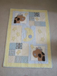 Moon and Stars Crib Quilt by SweetDreamsbySusan on Etsy, $200.00