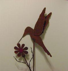 Metal Garden Art Hummingbird Yard Stake by northwindmetalart, $42.00