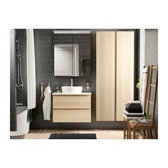 GODMORGON Meuble lavabo 2tir - effet chêne blanchi, 80x47x58 cm - IKEA