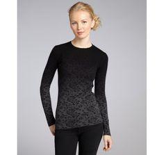 C3 Collection mid heather grey lace print cashmere dip dye crewneck sweater
