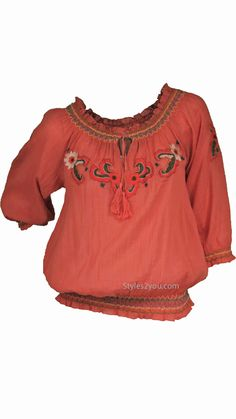Sale alert! Annika Peasant Blouse In Rust for just $37.20 #Vintage, #victorian, #unique, #lace, #boutique, #vintageinspired, #styles2you #love #collection #ideas #inspiration #holiday #ootd #women #fashionista #ootd #gifts #fall #collection #holiday #season #party #affordablefashion #crochet #shoponline #unique #festival #festive #celebrations #gifts #thanksgiving #christmas #orange #coral #embroidery #peasant #tassle #floral