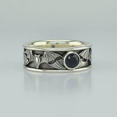 BAT WIDE - 20% OFF with 5mm BLACK SPINEL - 14KT $1,799 Sterling $259 - 14KT Yellow Gold / 10 1/2