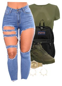 A fashion look from November 2017 featuring green top, high waisted ripped jeans and nike sneakers. Browse and shop related looks. Cute Swag Outfits, Dope Outfits, Chill Outfits, New Outfits, Trendy Outfits, Summer Outfits, Dress Outfits, Teenager Outfits, College Outfits