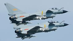 Chinese Jet Fighters…Image No.1: A pair of Chengdu J-10 Vigorous Dragon multirole fighters of the PLAAF