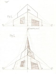 Perspective Tutorial: 1 by GriswaldTerrastone on DeviantArt Perspective 3 Points, 2 Point Perspective Drawing, Perspective Art, Architecture Concept Drawings, House Drawing, Art Graphique, Technical Drawing, Step By Step Drawing, Deviantart