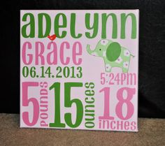 Custom Baby Birth Announcement on Canvas with Elephant to match Jungle Jill Nursery