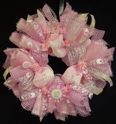Its A Girl Baby Girl Wreath Poly Mesh Wreath by wreathsbyrobin, $50.00