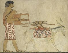 "Ashmolean Advent Calendar Day 8 - ""Little donkey, on the dusty road"" - Painted copy of a wall painting in the private tomb 3 of Khnumhotpe III, in the Ancient Egyptian cemetery Beni Hasan. Painting by Nina Davies © Ashmolean Museum AN1939.591 http://www.ashmoleanprints.com/image/453789/davies-nina-copy-of-wall-painting-private-tomb-3-of-khnumhotpe-iii-beni-hasan-semite-playing-lyre-preceded-by-donkey"