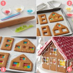 Candy Stained Glass Windows Gingerbread House - This holiday season, create a gingerbread house that stands out from all others. Baked from scratch - Gingerbread House Icing, Homemade Gingerbread House, Halloween Gingerbread House, Gingerbread House Patterns, Gingerbread House Template, Cool Gingerbread Houses, Gingerbread House Parties, Gingerbread Cookies, Graham Cracker Gingerbread House