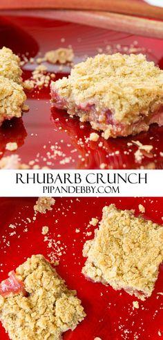 Rhubarb Crunch | Rhubarb creates such a perfect dessert bar!