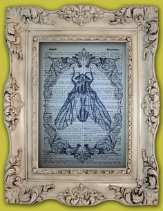 Insect Art Print - vintage inspired art print - upcycled antique dictionary page - insect oddity book page - wall art on Etsy, $8.00