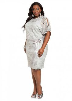 bb557eb4955 Ashley Stewart  Web Exclusive  Lace Blouson Dress with Satin Belt