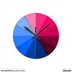 red and blue round clocks