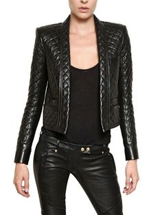 BALMAIN - QUILTED NAPPA LEATHER JACKET - LUISAVIAROMA - FLORENCE
