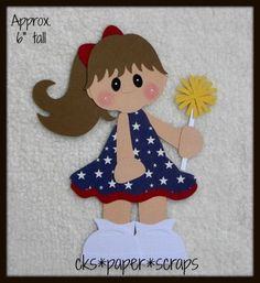 paper piecing 4th of july | July 4th Patriotic Dress Girl Kid Scrapbook Paper Piecing