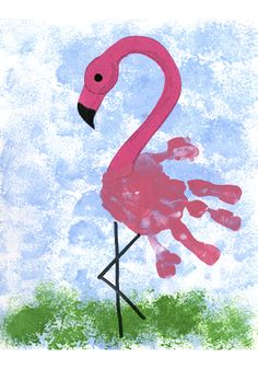 Create a Flamingo with hand prints!