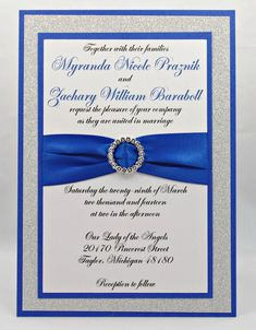 Royal blue and silver wedding invitation templates for ...