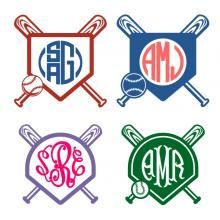 Baseball Home Plate Monogram SVG Cuttable Frame