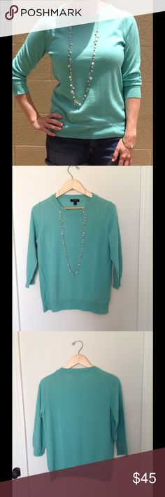 j.crew merino wool sweater Aquamarine  Merino Wool. About 3/4 length sleeves. Hits a few inches above wrist. Crew neck. Ribbing at neck and sleeves.  Worn once, excellent condition. J. Crew Sweaters Crew & Scoop Necks
