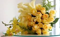 Valentine's Day Bouquet - Which Flowers To Give & Flowers Meaning 6 yellow roses meaning - Yellow Things Yellow Rose Bouquet, Yellow Rose Flower, Yellow Bouquets, Yellow Flowers, Cascading Wedding Bouquets, Bridal Flowers, Love Flowers, Send Flowers, Exotic Flowers