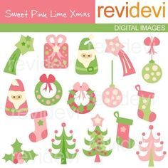 Sale Sweet Pink Lime Xmas 08073 Commercial use digital by revidevi