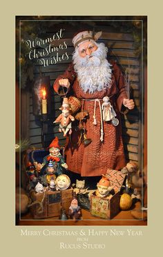 Warmest Christmas Wishes from Rucus Studio. Original Santa by Scott Smith © Rucus Studio 2017 Father Christmas, Christmas Wishes, Christmas Art, Christmas Decorations, Scott Smith, Miniature Christmas, Happy New, Art Dolls, Santa