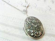 Silver Locket Necklace  SILVER FLOWERS Wildflowers  by birdzNbeez, $26.00