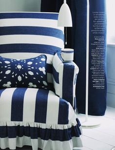 navy and white chair Striped Chair, White Rooms, White Houses, White Decor, Navy And White, Navy Blue, Shades Of Blue, Decoration, Interior Design