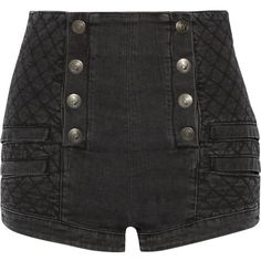 Pierre Balmain Button-detailed quilted stretch-denim shorts ($270) ❤ liked on Polyvore featuring shorts, charcoal, high rise shorts, high waisted button shorts, zipper shorts, high-rise shorts and high waisted shorts