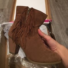 Sugar brown fringe ankle boots Sugar brown fringe ankle boots, brand new in box Sugar Shoes Ankle Boots & Booties