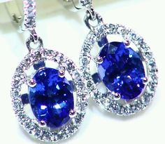NEW 1.80CT 14KT GOLD NATURAL AAA TANZANITE WHITE DIAMOND HALO DROP EARRINGS FINE #Handmade #Stud