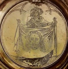 Obverse of the gothic-renaissance reliquary of Saints Fidelis and Favronius with engraved Veraicon by Anonymous after Hans Süß von Kulmbach, ca. Bazylika Mariacka w Krakowie, founded by Hans Boner for Saint Mary's Church in Kraków: Jesus Christ Superstar, Jesus Face, Krakow, Les Oeuvres, Renaissance, Lithuania, Poland, Veronica, Anonymous
