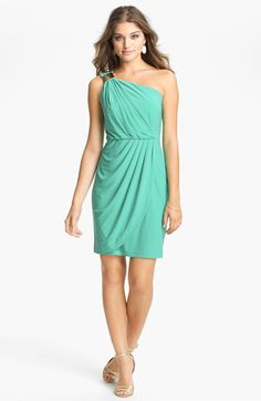 Max & Cleo Embellished One Shoulder Dress in Aquamarine $128 | Nordstrom