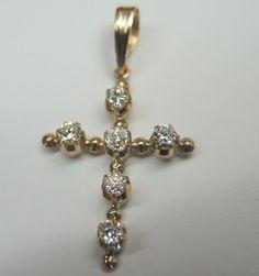 Antique European Diamond Cross 14ky Estate Religious Rare Art Deco Vintage Faith