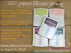 1000 Pinterest Followers Giveaway | Stampin\' Up! #literallymyjoy #BerryBurst #FreshFig #LemonLimeTwist #PowderPink #TranquilTide #giveaway #entertowin #crafty #papercrafting #inkpads #20172018AnnualCatalog